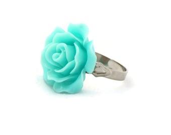 Large Aqua Blue Rose Adjustable Ring - Pinup, Rockabilly, Retro
