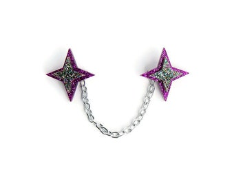 "Purple Star Sweater Clasps, Handmade Sweater Clip Jewelry, Vintage Inspired Collar Chain, 1950s Style Pinup Costume Jewelry, 4"" or 6"" chain"