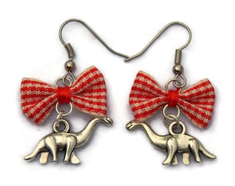 Dinosaur Earrings - Red Gingham Bow - Rockabilly, Pinup, Retro jewelry, Kitsch earrings