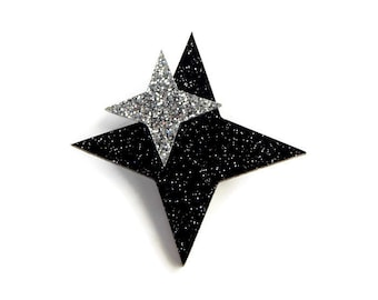 "Retro Star Celestial Brooch Pin, Black & Silver Atomic Starburst Brooch, Vintage Inspired Plastic Brooch, Rockabilly Costume Jewelry, 2""x2"""
