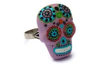 Pink Sugar Skull Ring - Day of the Dead, Dia de los Muertos - Women's Adjustable Ring - Fashion Ring, Statement Ring