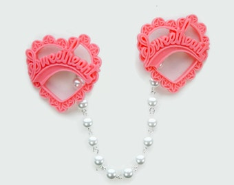 Pink Sweetheart Sweater Clip - Resin pink heart and White Pearls - Retro Rockabilly Pinup - Cardigan Clip - Sweater Guard - Sweater Clasp