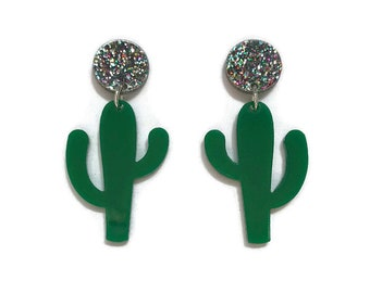 Green and Glitter Cactus Dangle Earrings, Pinup Acrylic Drop Earrings , Vintage Statement Earrings, Retro Rockabilly Pin Up Plastic Earrings