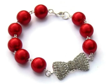 Pinup Red Pearl and Rhinestone Bow Bracelet, Womens vintage inspired jewelry, Retro, Classic