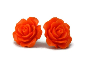 Large Orange Rose Earrings - Big Fashion earrings - Rockabilly, Pinup Flower