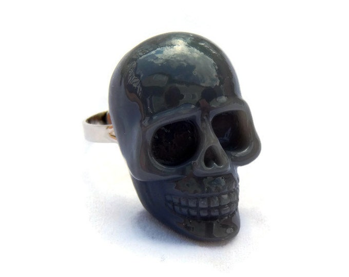 Featured listing image: Gray Skull Ring - Large Resin Skull Ring - Rockabilly ring - Punk Ring - Goth, Horror, Spooky