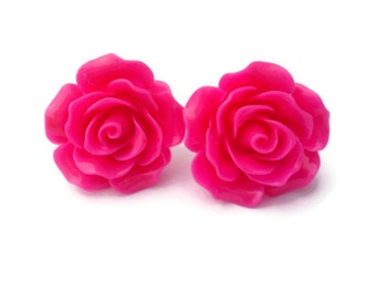 Large Hot Pink Rose Earrings, Rockabilly Large Flower Jewelry, Flower Stud Earrings, Post or Clip On