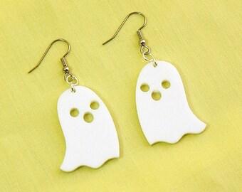 Ghost Earrings, Halloween Acrylic Earrings, White Laser Cut Earrings