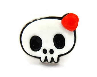 Women's Skull Ring - Black, White and Red - Pinup, Rockabilly, Retro - Girly Skull with red rose