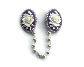 Purple and White Rose Sweater Clip with White Pearls, Collar Clip, Collar Chain Retro Rockabilly Pinup Cardigan Clip, Sweater Guard Clasp