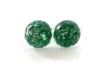 Green Glitter Resin Button Earrings, Vintage Resin, Foil Lucite Style, 1940s, 1950s, Nickel Free Earring Post, Made in USA