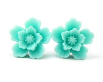 Vintage Inspired Large Aqua Flower Earrings