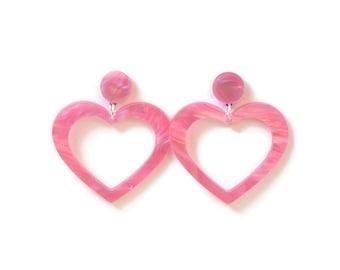 2 pairs Anti heart /& Hot pink heart Earrings