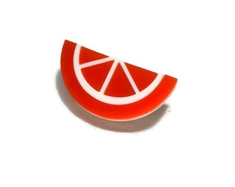 Retro Orange Fruit Slice Brooch, Rockabilly Pin Up Laser Cut Acrylic Handmade Jewelry, Gift for Her, Vintage 1940s 1950s Plastic Jewelry