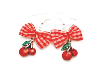 Red and White Gingham Bow and Cherry Earrings, Rockabilly, Pinup, Retro, Vintage Style