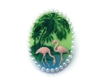 Retro Flamingo Rockabilly Cameo Pin, Pin up, Vintage Inspired Brooch, 50s, 40s, Tiki, Tropical
