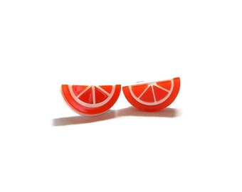 Orange Fruit Stud Earrings, Laser Cut Acrylic Jewelry, Retro Gift for Her, Rockabilly Pin Up Handmade Jewelry, Plastic Statement Earrings