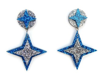 Blue and Silver Star Earrings, Retro Acrylic Earrings Dangle, Rockabilly Earrings Handmade, 1950s Atomic Starburst Earrings, Nickel Free