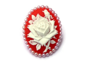 Red and White Rose Cameo Brooch, Handmade Costume Jewelry, Vintage Flower Brooch Pin