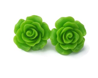 Large Green Rose Earrings - Pinup, Rockabilly, Retro - Big Flower Stud Earrings - Lime Green - Women's Resin Floral Studs