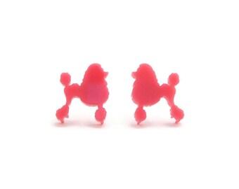 Kitschy pink poodle earrings bakelite plastic rockabilly. Vintage poodle clip on earrings diamonte
