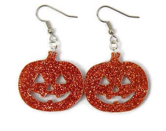 Orange Glitter Jack O Lantern Dangle Earrings, Creepy Cute Pumpkin Drop Earrings, Acrylic Rockabilly Pinup Halloween Jewelry