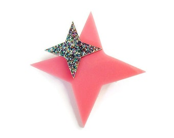 "Plastic Star Brooch Pin, Pink Acrylic Brooch, Vintage Inspired Costume Jewelry, Laser Cut Brooch Handmade, 2"" x 2"""
