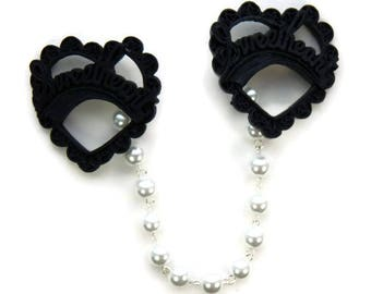 Black Sweetheart Sweater Clip - Resin Black Heart and White Pearls - Retro Rockabilly Pinup - Cardigan Clip - Sweater Guard - Sweater Clasp