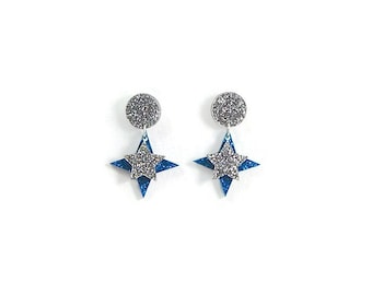 Blue and Silver Star Dangle Earrings, Retro Hypoallergenic Glitter Acrylic Earrings, Rockabilly Vintage Style Laser Cut Drop Earrings