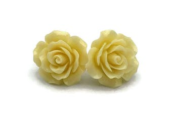 Retro Light Yellow Rose Earrings, Rockabilly Large Flower Jewelry, Vintage Inspired, Pinup