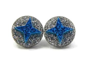 Blue and Silver Star Stud Earrings, Laser Cut Acrylic Geometric Statement Earrings, 1940s Style Rockabilly Jewelry, 1950s Handmade Jewelry