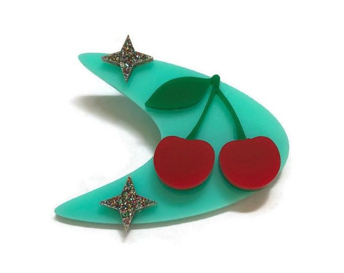 Featured listing image: Rockabilly Cherries Brooch, Retro Boomerang and Stars, Vintage Acrylic Pin, Pin up, Rockabilly, Atomic 50s Style, Laser Cut