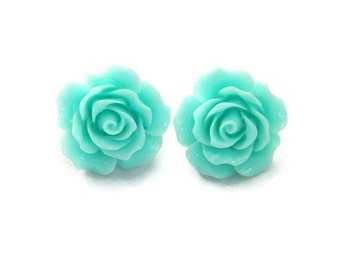 Aqua Rose Earrings, Large Light Blue Flower Stud Earrings, Retro Rockabilly Pinup Earrings, Resin Statement Earrings