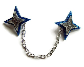 Blue and Silver Starburst Sweater Clip, Pinup Cardigan Clip, Retro Star Collar Clips, Rockabilly Acrylic Jewelry