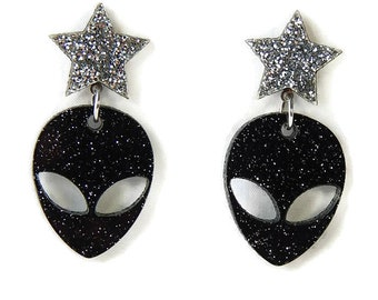 Alien and Star Dangle Earrings, Black And Silver Glitter Retro Outer Space Acrylic Earrings, Galaxy UFO Laser Cut Drop Earrings