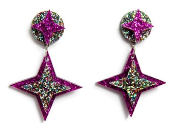 Purple Star Laser Cut Earrings, Vintage Inspired Pinup Jewelry, Unique Plastic Earrings, Large Statement Earrings Hypoallergenic Nickel Free