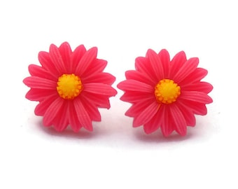 Large Hot Pink Daisy Earrings - Rockabilly Large Flower Jewelry