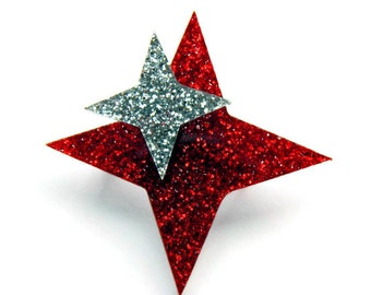 "Atomic Starburst Brooch, Red and Silver Acrylic Brooch Pin, Laser Cut Glitter Acrylic Star Brooch, Handmade Retro Jewelry Broche, 2"" x 2"""