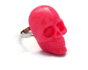 Large Hot Pink Womens Skull Ring