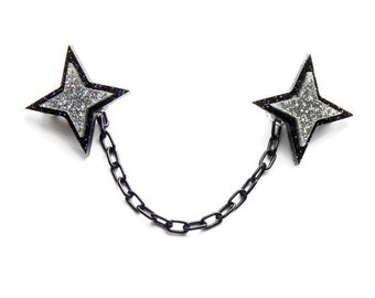 "Black Star Sweater Clasps, Handmade Sweater Clip Jewelry, Atomic 50s Starburst Cardigan Clasp, Pinup Costume Jewelry, 4"" or 6"" chain"