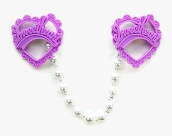 Purple Heart Sweater Clip, Collar Clip Chain, Lavender Brooch Clip with Pearls, Rockabilly Retro Pinup Cardigan Clip, Sweater Guard Clasp