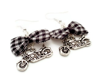 Black and White Gingham Bow and Motorcycle Earrings, Rockabilly, Pinup, Trendy, Fashion