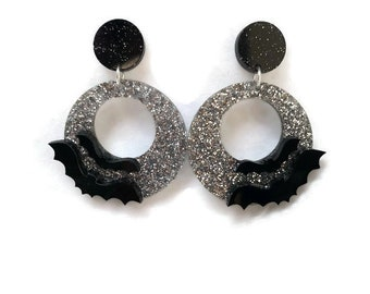 Black and Silver Bat Dangle Hoop Earrings - Creepy Cute, Spooky, Halloween - Laser Cut Acrylic - Women's, Rockabilly, Pinup Jewelry