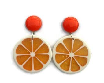 Orange Fruit Slice Earrings - Retro Fruity Oranges - Glitter Plastic Dangle Earrings - Handmade in USA - Women's, Rockabilly, Pinup Jewelry