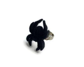 Black Fuzzy Spider Ring - Halloween, Creepy Cute - Goth, Horror, Spooky - Women's Adjustable Ring