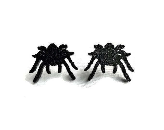 Featured listing image: Black Glitter Tarantula Earrings - Acrylic Spiders - Spooky, Creepy, Halloween - Nickel free earrings - Sparkly, Rockabilly, Goth