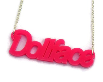 Pink Dollface Acrylic Necklace, Rockabilly Pin Up Retro Handmade Jewelry, Laser Cut Statement Necklace