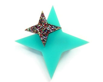"Atomic Starburst Brooch, Aqua and Glitter Acrylic Brooch Pin, Laser Cut Glitter Acrylic Star Brooch, Handmade Retro Jewelry Broche, 2"" x 2"""