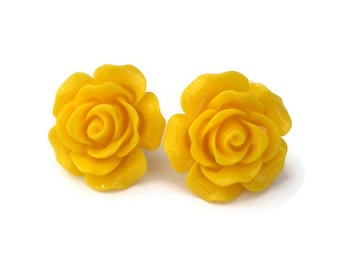 Yellow Rose Earrings, Large Pinup Flower Jewelry, Resin and Surgical Steel Post or Clip On, Floral Stud Earrings