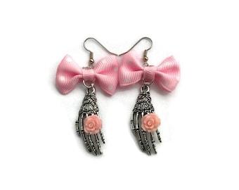 Pink Bow and Skeleton Hand Earrings - Day of the Dead, Dia de los Muertos, Halloween - Nickel Free - Spooky, Creepy - Handmade
